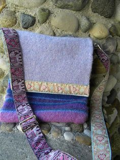 Purple Elephants Felted Wool Messenger Bag by Rosy Toes Designs. Bollywood feel with it's jacquard ribbon strap. Blue and white batik cotton lining. $203