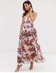 Forever U organza maxi dress in floral at ASOS. Mini Skater Dress, Pleated Midi Dress, Floral Midi Dress, Wrap Dress Outfit, Moda Online, Swing Dress, Bridesmaid Dresses, Bridesmaids, Summer Dresses