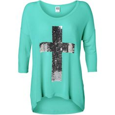 Vero Moda Leo Audrina Cross/Peace 3/4 Top ($35) ❤ liked on Polyvore featuring tops, shirts, blusas, sweaters, cascade, loose shirt, star print shirt, sequin shirt, peace sign shirt and rayon tops