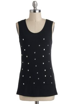 Skull Talent Show Top - Cotton, Black, Solid, Studs, Urban, Steampunk, Sleeveless, Mid-length