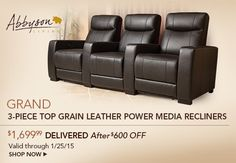 Grand 3-Piece Top Grain Leather Power Media Recliners $1,699.99 Delivered After $600 OFF Valid through 1/25/15