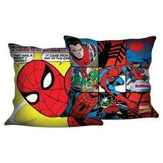 Almofada Homem-Aranha HQ Marvel, tecido em veludo com 40cm x 40cm