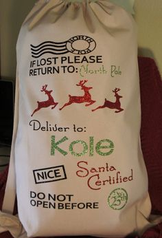 Personalized Santa Sack! Customized canvas bag - Santa Certified! Customize for name and colors!