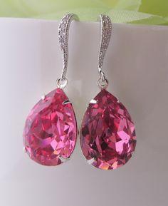 Wedding Jewelry,Pink Swarovski, Bridal Jewelry, Bridesmaids Gift, Bridesmaids Pink, Pink Acessory, For Her, Pink Wedding, Free US Shipping