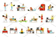 Happy People Spending Their Time Using Computer Set Of Vector Illustrations With Men And Women Using Modern Technology Graphics Happy People Spending Their Time Using Computer Set Of Vector Illustrations With Men And Women Using by TopVectors