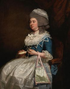 John Singleton Copley (Boston 1737-1815 London) Portrait of a lady, said to be Charlotte Pochin of Barkby Hall, Leicestershire, three-quarter-length, in a blue dress with a lace bonnet, holding an ivory knotting-shuttle