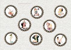 f036 8 er Kronkorken Magnet Set PIN UP white von Mondcatze´s Zauberwerkstatt auf DaWanda.com