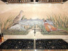Custom Pheasant shown in stone, hand cut tesserae polished and honed. Stone Mosaic, Stone Tiles, Ravenna Mosaics, New Ravenna, Mosaic Birds, Kitchen Images, Ranch Style, Pheasant, Natural Stones