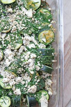 This Roasted Zucchini recipe with Herbs and Feta is sure to add a Mediterranean twist to any fall day. Plus, the dill and chive finish adds a wonderfully green color to this side dish.