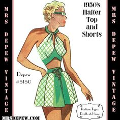1950's Halter Bra Top & Shorts Bathing Suit #5150 vintage sewing pattern from mrsdepew.com.