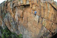 El escalador británico John Roberts en Sudáfrica.