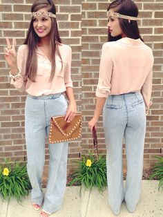 Nude top & wide leg denim Pants #swoonboutique. Omg! I want jeans like these! I like wide leg pants ;)
