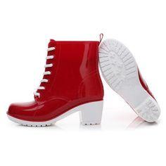 HEE GRAND Rain Boots Women Ankle Boots Platform High Heels Rubber Shoes  Woman Lace Up Rainboots 15e29cf890db