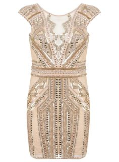 Miss Selfridge, Petite Nude Sequin Bodycon Dress. Discover more petite party dresses and a curated selection of petite clothing at BombPetite.com