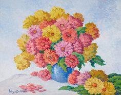 Birger Sandzén (1871-1954) Floral still life (Zinnias) signed 'Birger Sandzén' (lower left) oil on masonite