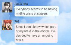 Jumin, Seven / Saeyoung Mystic Messenger Jumin, Fairy Tail Comics, A Silent Voice, Funny Comics, Texts, Lol, Messages, Anime Mems, Jumin Han