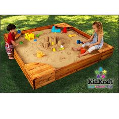 wooden sandbox with corner seats and tie on cover $219