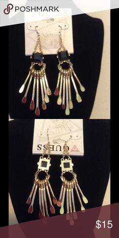 Guess Earrings Guess black gem with gold dangles Accessories