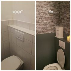 Bathroom Toilets, Small Bathroom, Toilet Tiles, Before After Home, I Love House, Toilet Room, T Home, Lunch Room, Toilet Design