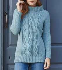 Enjoy your winter walks in style with this beautiful cabled jumper. It's a long, roll-neck design with dolman-style sleeve caps; the long sleeves are picked up and knitted downwards. The central panel features an elegant interpretation of the OXO cable pattern.