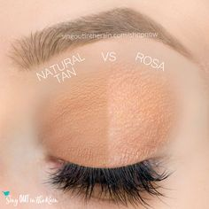 Rosa and Natural Tan ShadowSense side by side comparison.  These long-lasting SeneGence eyeshadows help create envious eye looks.  #eyeshadow #shadowsense
