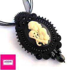 Czarny gotycki wisiorek sutasz ; Gotycka biżuteria ; Gothic black soutache…