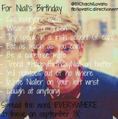 niall's birthday to do list!!