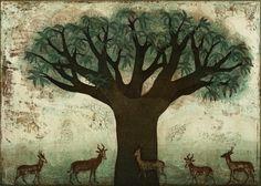 Piia Lehti: Emopuun suojissa / In the Shelter of the Mother Tree, 2013 Finland Tree People, Stencil Art, Tree Of Life, Chinese Art, Japanese Art, Printmaking, Folk Art, Moose Art, Art Gallery