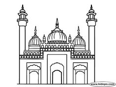 Coloring the Masjid-e-Nabvi worksheet for kids for Islamic