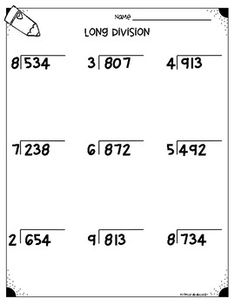 Long Division Worksheets With MultiDigit Divisors  Math