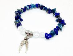 Lapis Lazuli  and Kyanite Bracelet, Angel Wing Bracelet, Angel Bracelet, Crystal Bracelet, Christian Jewelry, Reiki Jewelry, Kyanite Jewelry
