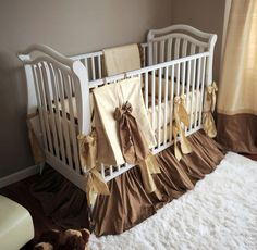 "gorgeous gold crib bedding perfect for not finding out the sex "")"