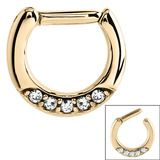 Zircon Steel Septum Clicker Ring Jewelled 5 Gem (Gold colour PVD) - SKU 22981