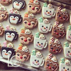 Christmas Sugar Cookies, Christmas Candy, Christmas Treats, Christmas Baking, Merry Christmas, Fancy Cookies, Iced Cookies, Cocoa Cookies, Mug Sugar Cookie