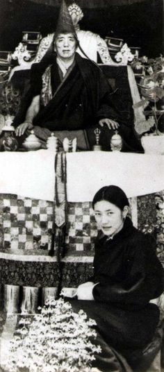 Khandroma Tsering Cödron, the secret consort of Jamyang Khyentse Lödrö. Rare photo of the consort, which shows their official status, a great Master on the throne with his young and dignified partner below the throne (Courtesy of Shechen Monastery Archives)