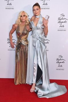 Gigi Hadid and Donatella Versace attend The Fashion Awards 2016 drinks reception at Royal Albert Hall on December 5, 2016 in London, United Kingdom.