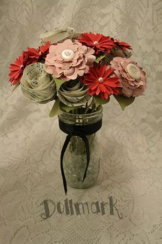 Red Pink and Music Paper Flower Bouquet  Novelty gift by Dollmark, $55.00