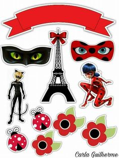 Ladybug Cakes, Miraclous Ladybug, Bolo Miraculous Ladybug, Diy Birthday, Birthday Parties, Moldes Halloween, Candy Lady, Homemade Stickers, Ladybug Y Cat Noir