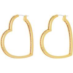 Henri Bendel Pave Heart Hoop Earring ($78) ❤ liked on Polyvore featuring jewelry, earrings, light pink, heart earrings, henri bendel, hoop earrings, pave jewelry and heart shaped hoop earrings