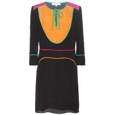 Vanessa Bruno Silk Dress (€495) ❤ liked on Polyvore featuring dresses, black, multicolored dress, multi colored dress, colorful dresses, vanessa bruno dress and multi-color dress