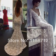 TBN2152 Sexy Mermaid Deep V-neck Open Back Beaded Full Sleeve High Quality Lace Long Berta Wedding Dress 2014 New Arrival US $180.00
