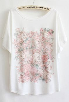 White Batwing Short Sleeve Flowers Print T-Shirt - Sheinside.com