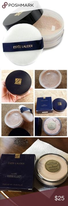 Lucidity loose powder. Lighter than air. Softer than silk. Incredibly fine. This micro-sheer powder controls shine and helps hide imperfections and pores. Fuses makeup into smooth, flawless perfection. Loose powder is ideal for the sheerest, most natural finish, especially when applying your makeup at home.  Brand new in the package Estee Lauder Makeup Face Powder