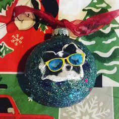 Border Collie Dog Christmas Glitter Ornament Great Gift Glass by HopesSassyGlass on Etsy