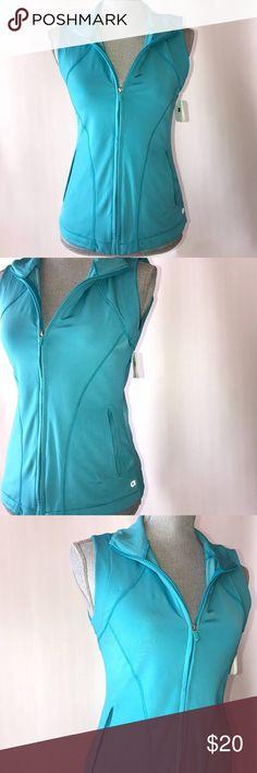 Gap body sleeveless jacket Blue GapBody sleeveless zip up jacket. New with Tags GAP Tops Sweatshirts & Hoodies