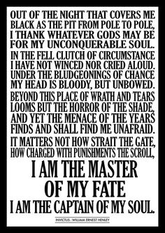 Invictus Poem Text by William Ernest Henley Made by FrameitKeepit