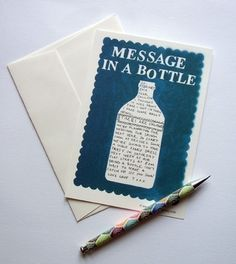 Inspiration: message in a bottle card.