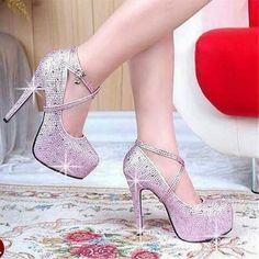 2570c2d93 Shiny Pink Sequins Rhinestone Round Closed Toe Stiletto Super High Heel  Cross Strap Pumps Shoe Pie