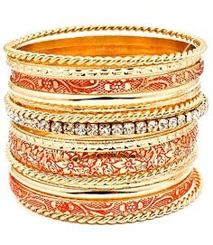 $24 Mixed Bangle Bracelet Set - Orange & Diamond. Order by Tuesday 12/18 and get by Christmas!