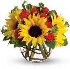 Flower arrangement, floral centrepiece, sunflower arrangement